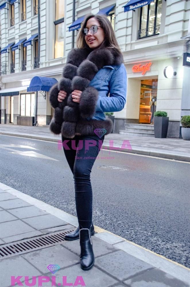 Джинсовая куртка с мехом - фото 15134