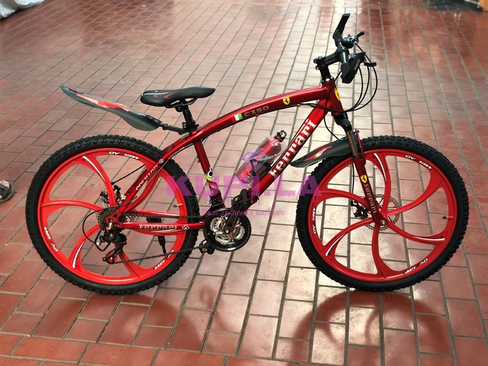 Велосипед Ferrari на дисках красный - фото 9003