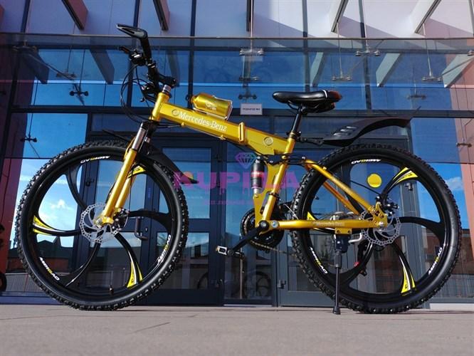 Складной велосипед Mercedes-Benz на дисках желтый