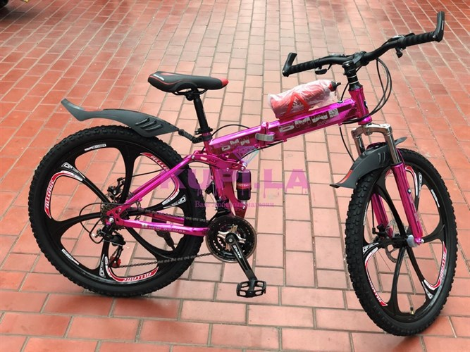 Складной велосипед BMW на дисках розовый