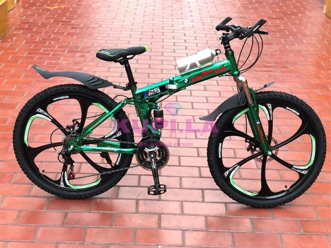 Складной велосипед BMW на дисках зеленый