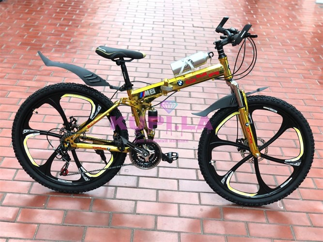 Складной велосипед BMW на дисках золотой