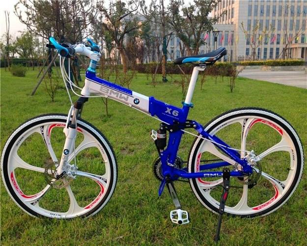 Складной велосипед BMW-X6 на дисках синий