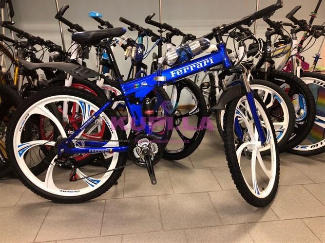 Складной велосипед Ferrari на дисках синий