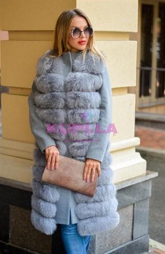 Женское пальто с жилетом из песца серое