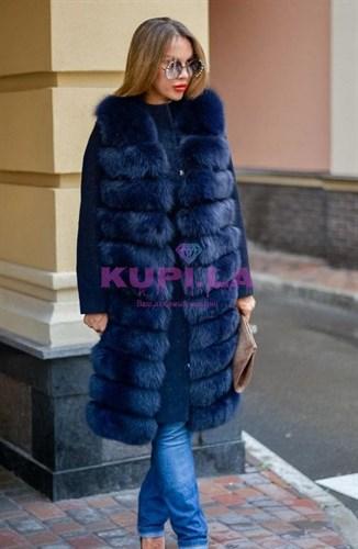 Женское пальто с жилетом из песца синее