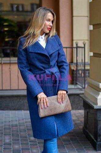Кашемировое синее пальто с поясом