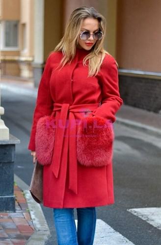 Пальто кашемировое с карманами из песца красное