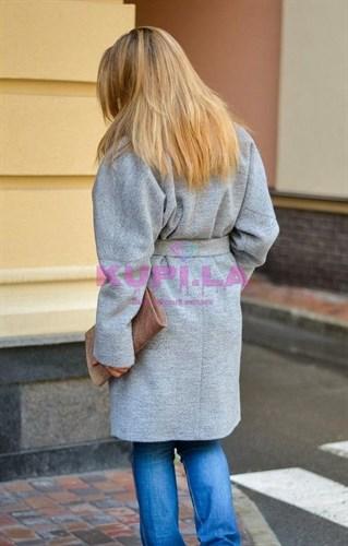Пальто кашемировое серое с воротником из норки