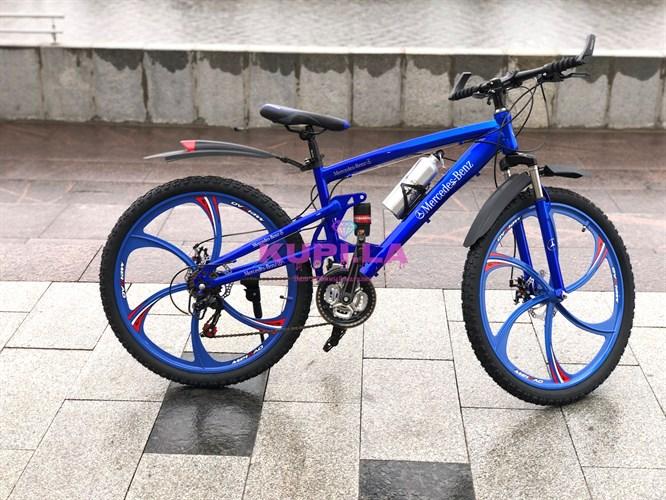 Велосипед двух-подвесной Mercedes-Benz на дисках синий