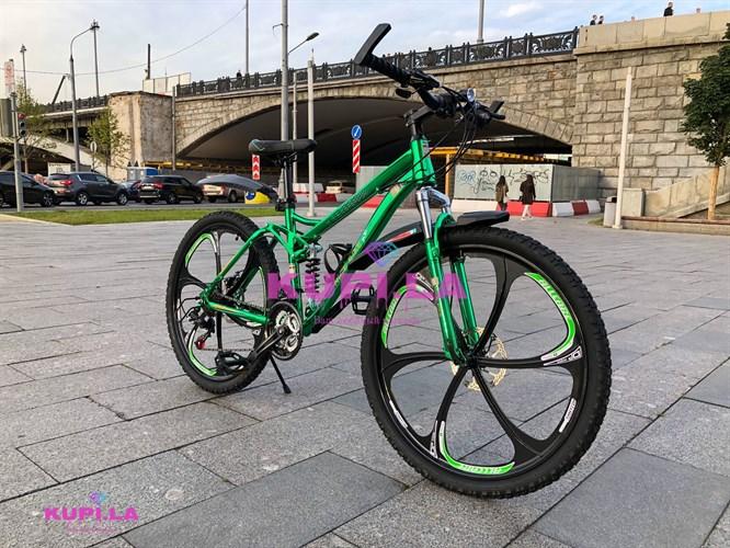 Велосипед на литых дисках двух-подвесной + ХРОМ ПАКЕТ
