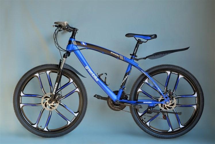 Велосипед Green Bike на дисках синий