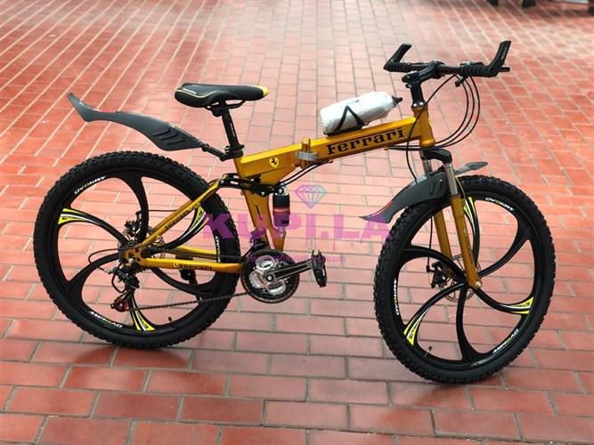 Складной велосипед Ferarri на дисках желтый